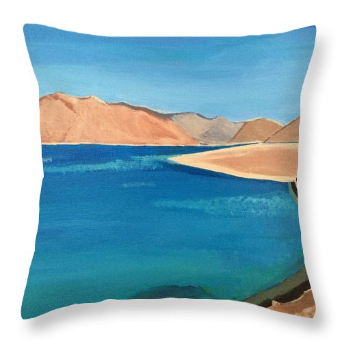 Landscape Throw Pillow featuring the painting Natural Landscape by Maneet Kaur