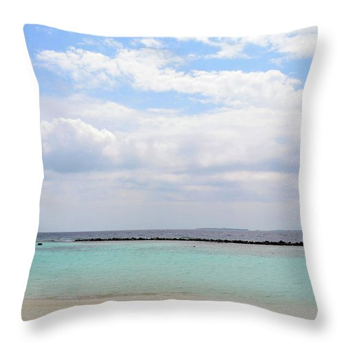 Nature Throw Pillow featuring the photograph Natural Landscape With The Ocean From An Island In Maldives by Oana Unciuleanu