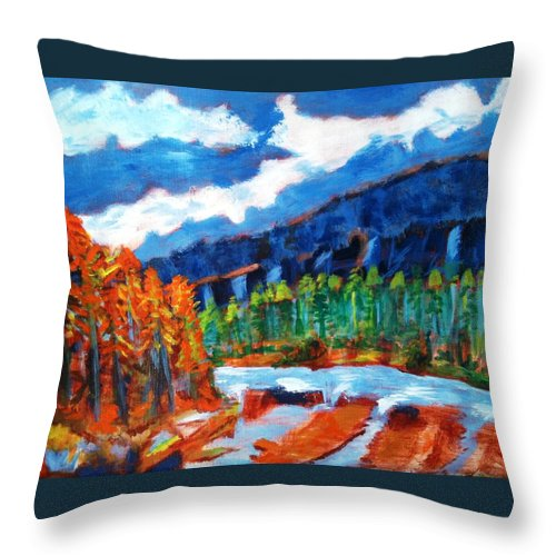 Mountains Throw Pillow featuring the painting Naturals by R B