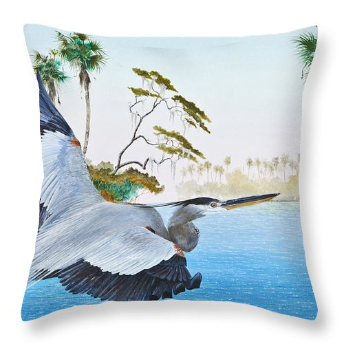 Blue Heron Throw Pillow featuring the painting Nature Coast 2 by Kevin Brant