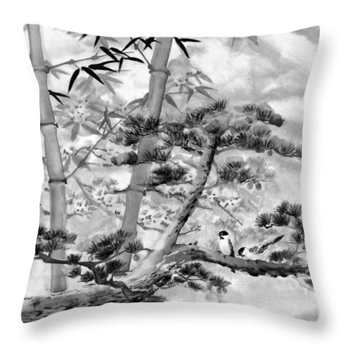 Black And White Throw Pillow featuring the painting Nature by Eileen Fong