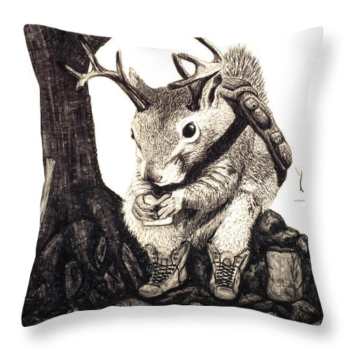 Animal Throw Pillow featuring the drawing Nature Hike by Jaison Cianelli