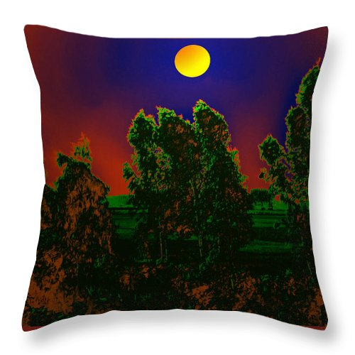 Full Throw Pillow featuring the digital art Nature In Full Moon by Bliss Of Art