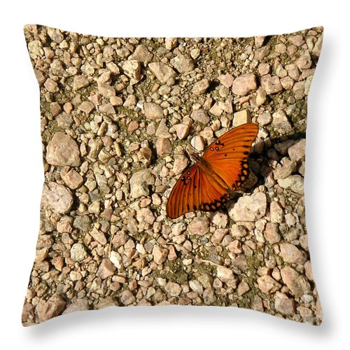 Nature Throw Pillow featuring the photograph Nature In The Wild - A Splash Of Color On The Rocks by Lucyna A M Green