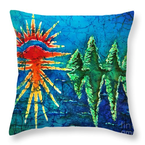 Trees Throw Pillow featuring the painting Nature by Sue Duda