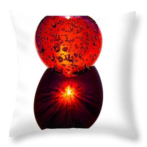 Fire; Sunset; Sunrise; Rays; Sun; Refracting; Gold; Golden; Glass; Ball; Bubbles; Sphere; Strong; Re Throw Pillow featuring the photograph Nature Through My Crystal Ball by Allan Hughes