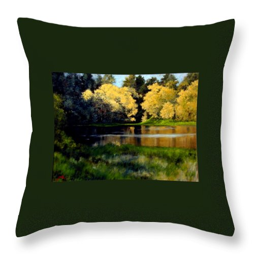 Landscape Throw Pillow featuring the painting Nature Walk by Jim Gola