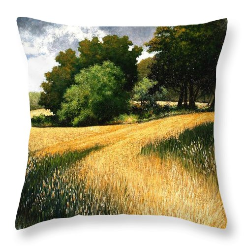 Landscape Throw Pillow featuring the painting Nature Walk Ridgefield Washington by Jim Gola