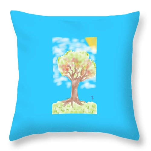 Tree Throw Pillow featuring the painting Naturely by Rowena Caro