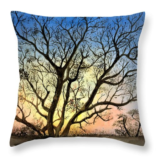 Tree Throw Pillow featuring the painting Natures Backlight by Arline Wagner