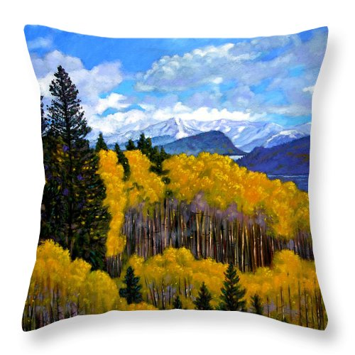 Fall Throw Pillow featuring the painting Natures Patterns - Rocky Mountains by John Lautermilch