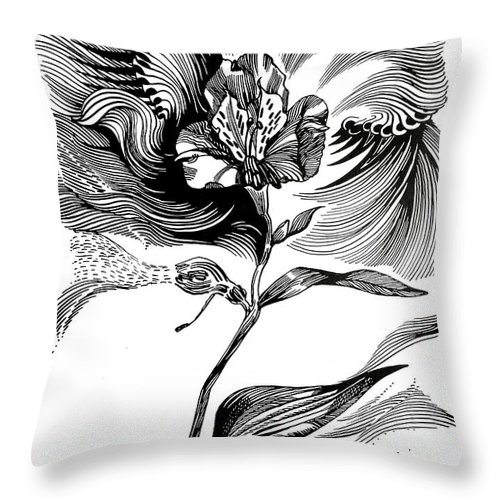 Inga Vereshchagina Throw Pillow featuring the drawing Nature's Waves by Inga Vereshchagina