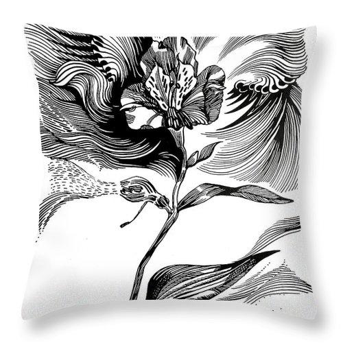 Inga Vereshchagina Throw Pillow featuring the drawing Nature's Waves by Inga Vereshchagina