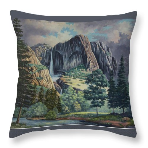 Landscape Throw Pillow featuring the painting Natures Wonder by Wanda Dansereau
