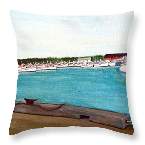 Naufrage Pei Throw Pillow featuring the painting Naufrage Harbour Pei by Richard Le Page