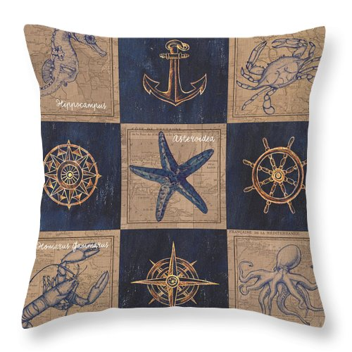 Seahorse Throw Pillow featuring the mixed media Nautical Burlap by Debbie DeWitt