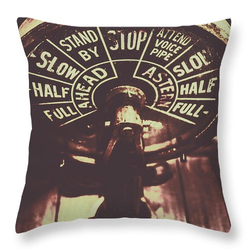 Engine Throw Pillow featuring the photograph Nautical Engine Room Telegraph by Jorgo Photography - Wall Art Gallery