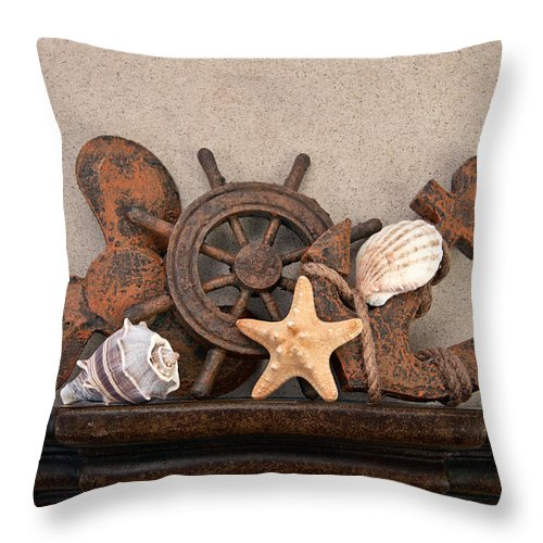 Shell Throw Pillow featuring the photograph Nautical Still Life IIi by Tom Mc Nemar