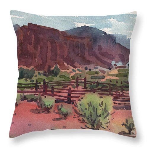 Corral Throw Pillow featuring the painting Navajo Corral by Donald Maier