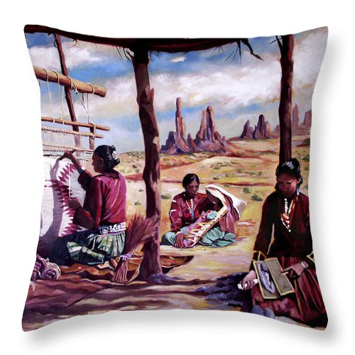 Native American Throw Pillow featuring the painting Navajo Weavers by Nancy Griswold