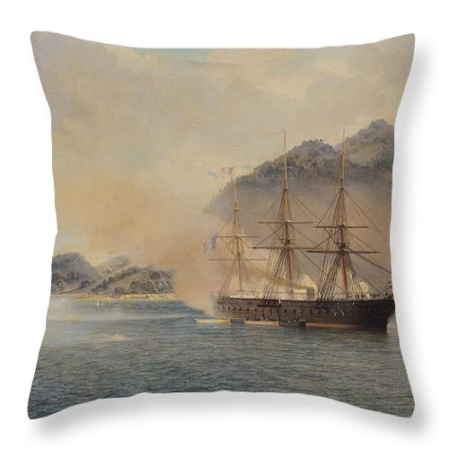 Naval Throw Pillow featuring the painting Naval Battle Of The Strait Of Shimonoseki by Jean Baptiste Henri Durand Brager