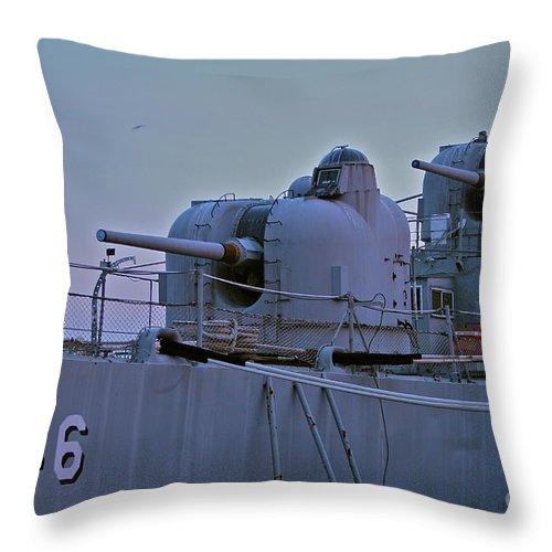 Gun Throw Pillow featuring the photograph Naval Gun by Rick Monyahan