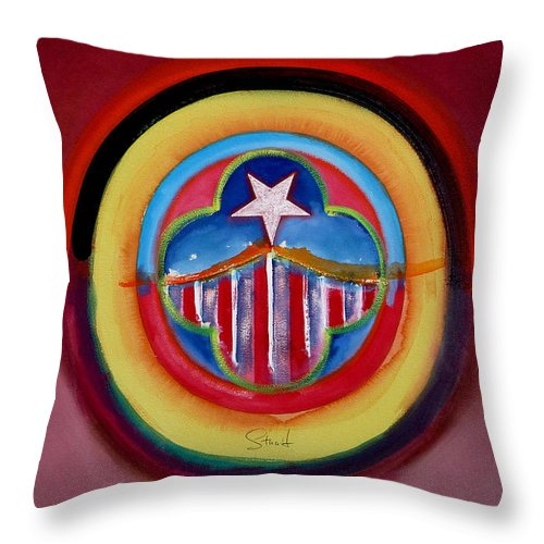 Button Throw Pillow featuring the painting Navy by Charles Stuart