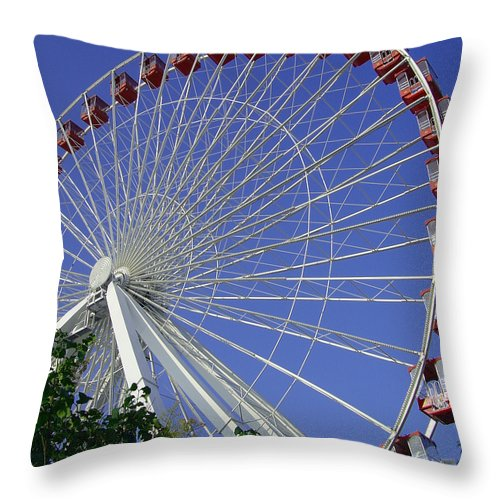Ferris Wheel Throw Pillow featuring the photograph Navy Pier Ferris Wheel 2 by Angelina Vick