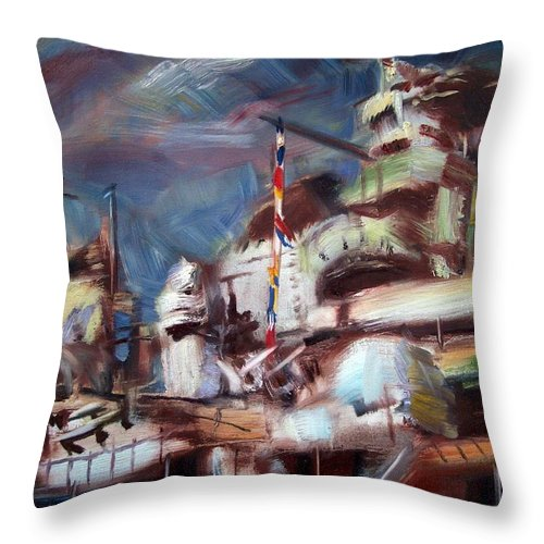 Dornberg Throw Pillow featuring the painting Navy Ship by Bob Dornberg