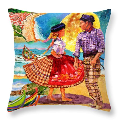 Dancers Throw Pillow featuring the painting Nazare Portugal by John Lautermilch