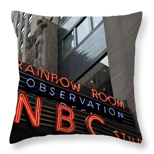 Iconic Sign Throw Pillow featuring the photograph Nbc Studio Rainbow Room Sign by Lorraine Devon Wilke