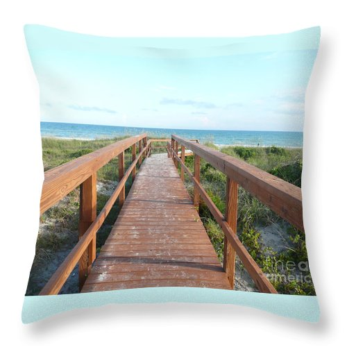 Boardwalk Throw Pillow featuring the photograph Nc Beach Boardwalk by Barb Montanye Meseroll