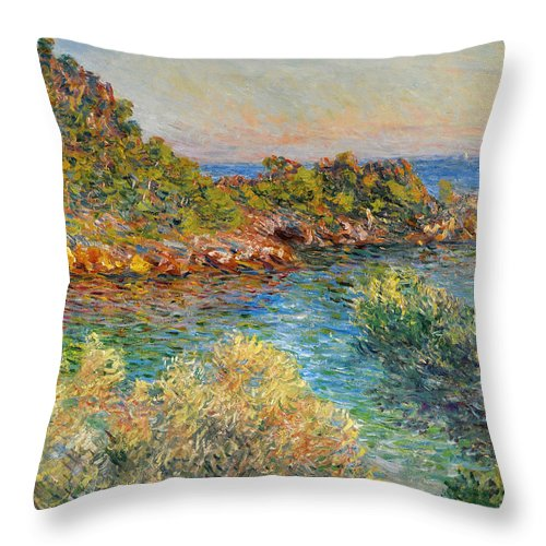 Claude Monet Throw Pillow featuring the painting Near Monte Carlo by Claude Monet