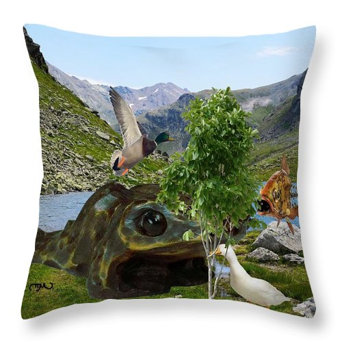 Landscape Throw Pillow featuring the mixed media Near The Lake 45 by Pemaro