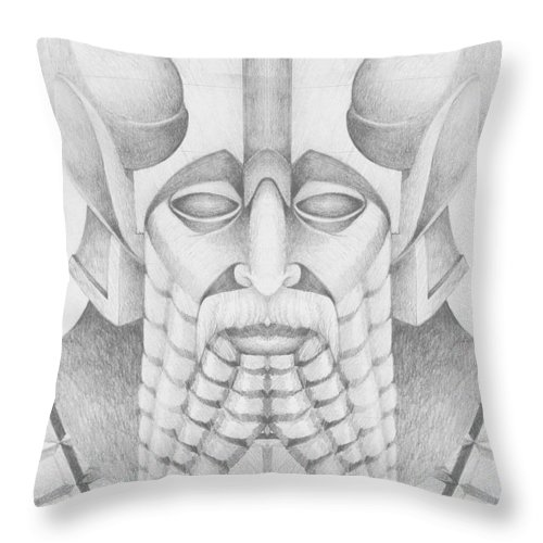 Babylonian Throw Pillow featuring the drawing Nebuchadezzar by Curtiss Shaffer