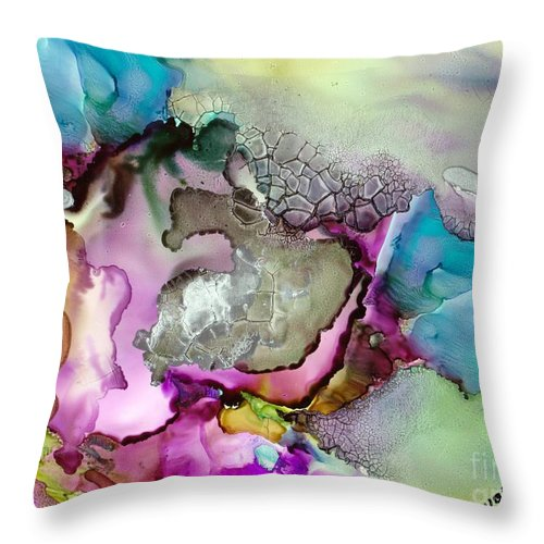 Space Throw Pillow featuring the painting Nebula 3 by Susan Kubes