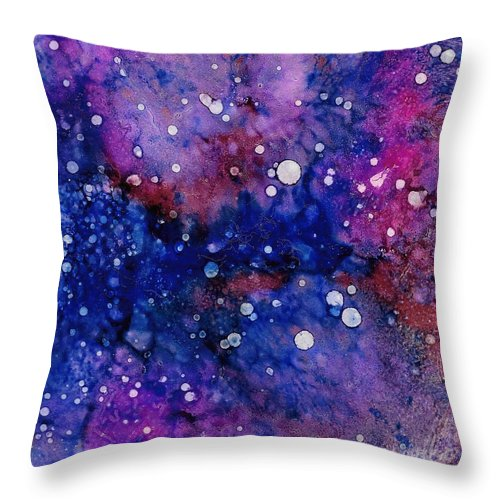 Alcohol Ink Throw Pillow featuring the ceramic art Nebula by Stacie Dowdy