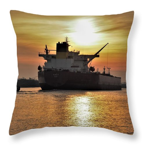 Neches River Throw Pillow featuring the photograph Neches River Sunrise by Jerry Connally