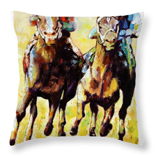Horse Race Throw Pillow featuring the painting Neck and Neck by John Lautermilch