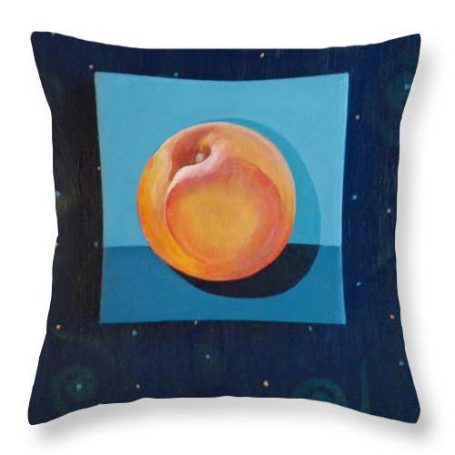 Nectarine Throw Pillow featuring the painting Nectarine by Helena Tiainen