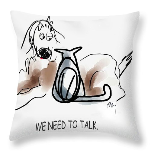 Cats With Dogs Throw Pillow featuring the digital art Need To Talk by Paul Miller