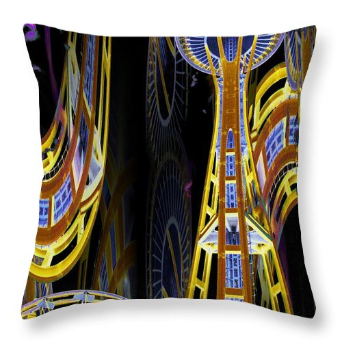 Seattle Throw Pillow featuring the digital art Needle And Ferris Wheel by Tim Allen