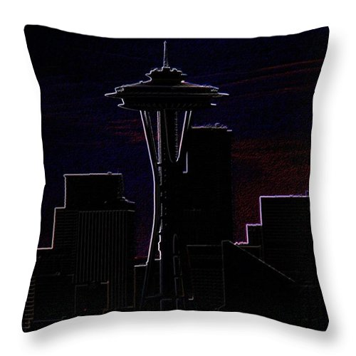 Seattle Throw Pillow featuring the photograph Needle From Kerry Park 2 by Tim Allen