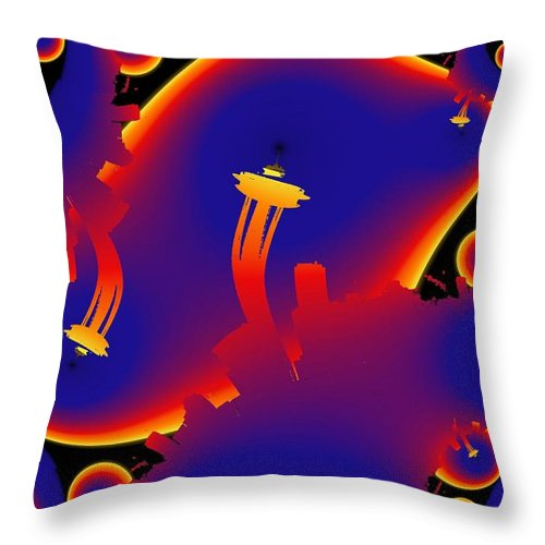 Seattle Throw Pillow featuring the digital art Needle From Kerry Park by Tim Allen