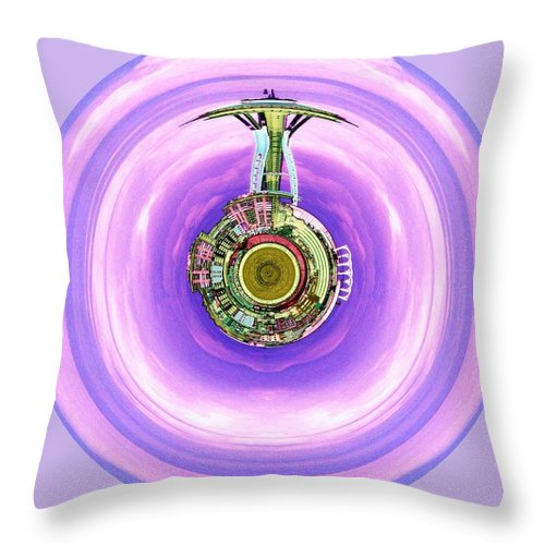Seattle Throw Pillow featuring the photograph Needle In A Bubble by Tim Allen