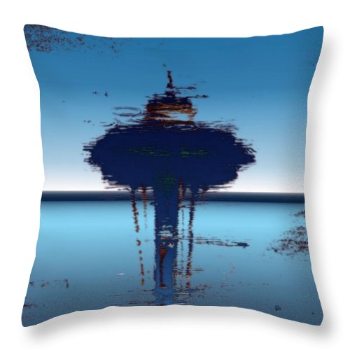 Seattle Throw Pillow featuring the digital art Needle In A Raindrop Stack 4 by Tim Allen