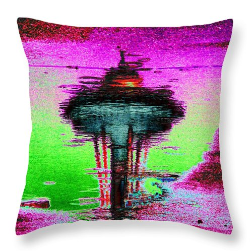 Seattle Throw Pillow featuring the digital art Needle In A Raindrop Stack by Tim Allen