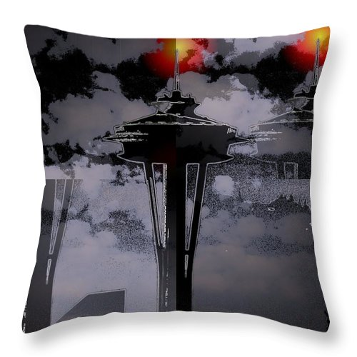 Seattle Throw Pillow featuring the digital art Needle In Flux by Tim Allen