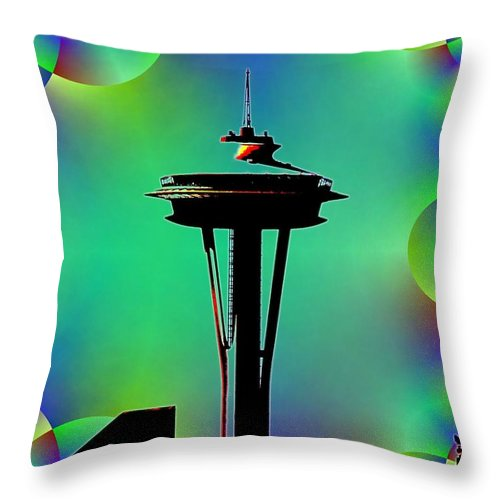 Seattle Throw Pillow featuring the digital art Needle In Fractal 3 by Tim Allen