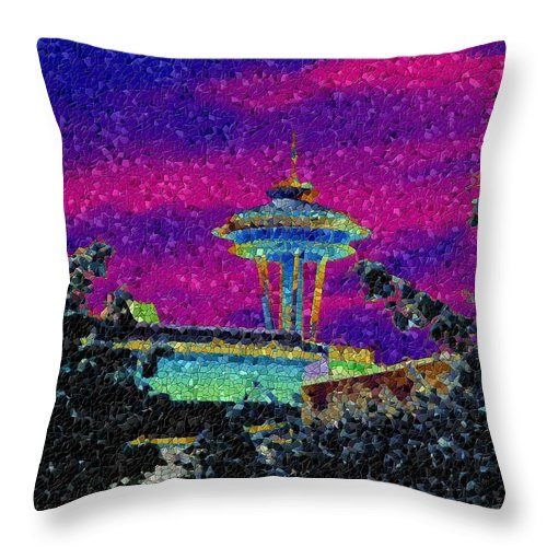 Seattle Throw Pillow featuring the photograph Needle In Mosaic 2 by Tim Allen